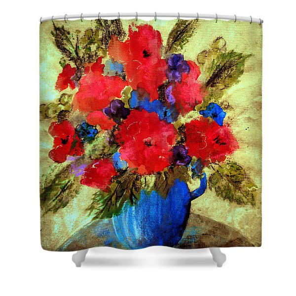 Vase Of Delight-still Life Painting By V.kelly Shower Curtain