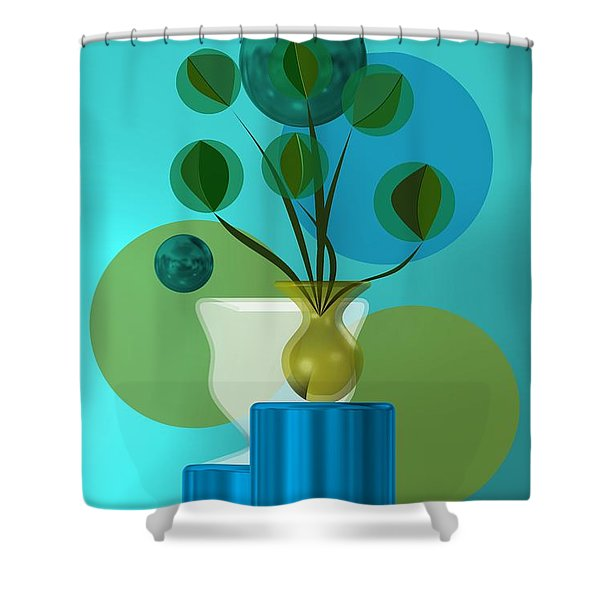 Vase With Bouquet Over Blue Shower Curtain