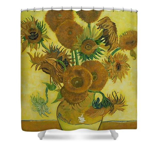 Vase Withfifteen Sunflowers Shower Curtain