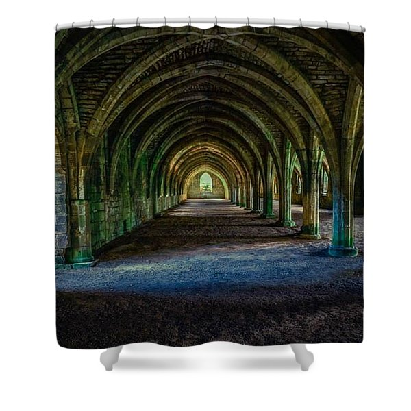 Vaulted, Fountains Abbey, Yorkshire, United Kingdom Shower Curtain