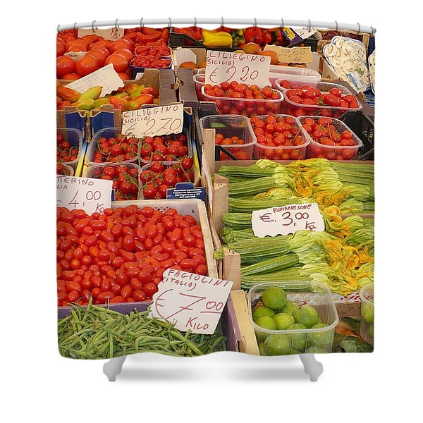 Vegetables At Italian Market Shower Curtain by Carol Groenen