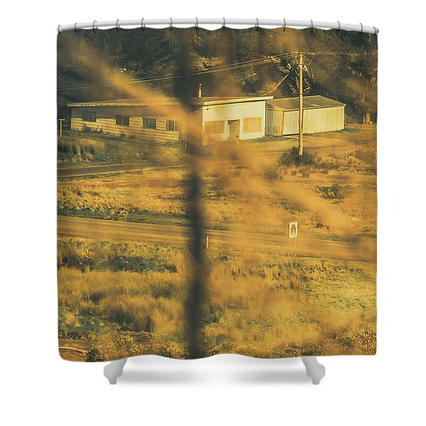 Vegitation View Of Rural Farm Homestead  Shower Curtain