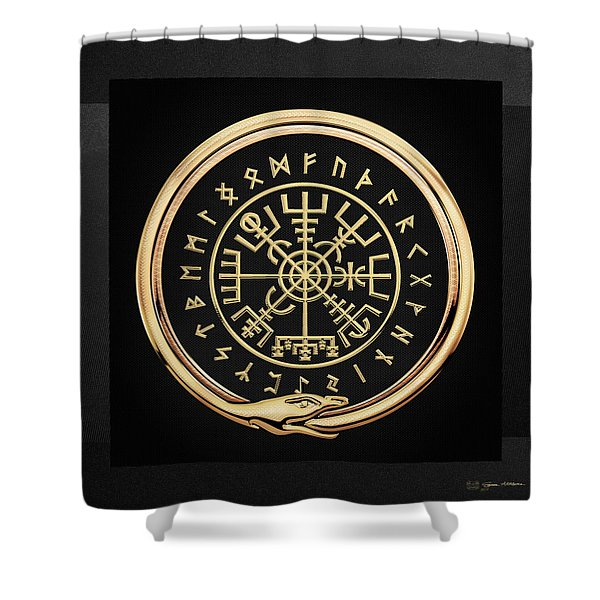 Vegvisir - A Magic Icelandic Viking Runic Compass - Gold On Black Shower Curtain
