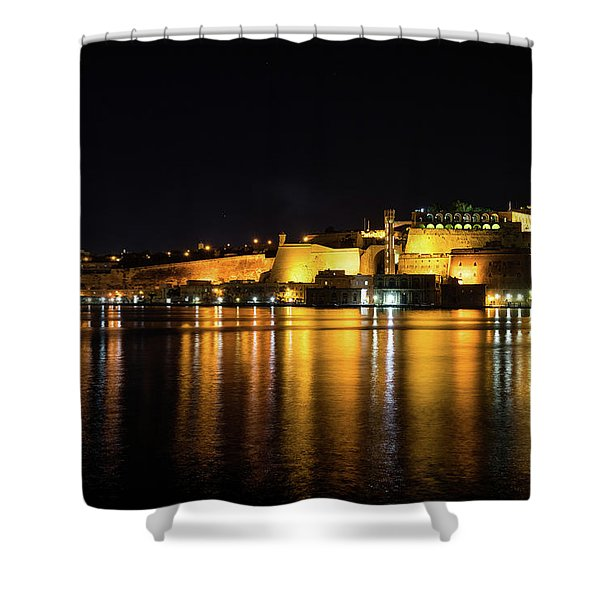 Velvety Reflections - Valletta Grand Harbour At Night Shower Curtain