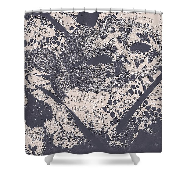 Venetian Ball Room Mask Next To Wilted Flowers Shower Curtain