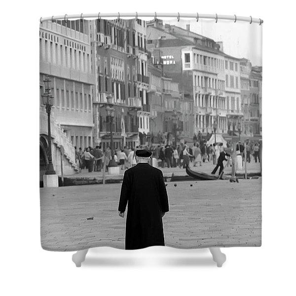 Venetian Priest And Gondola Shower Curtain