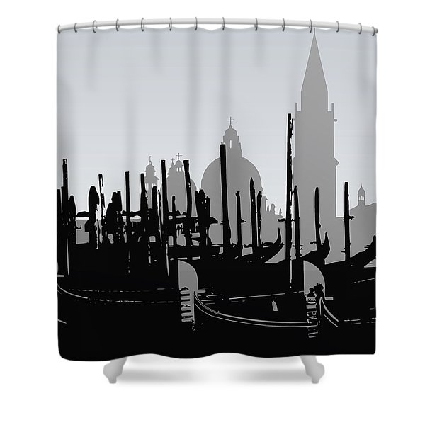 Venice Black And White Shower Curtain