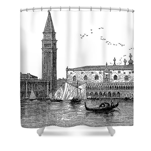 Venice, Italy, Engraved Vintage Drawing Shower Curtain