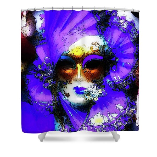 Venice Purple Carnival Mask Shower Curtain