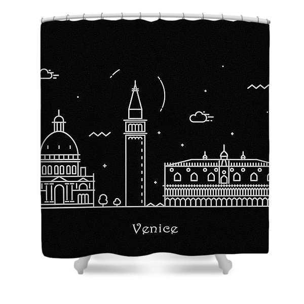 Venice Skyline Travel Poster Shower Curtain