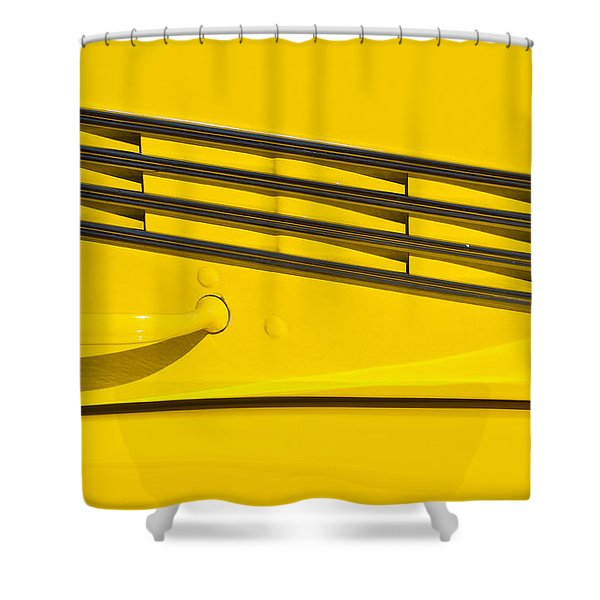 Vented Chrome To Yellow Shower Curtain