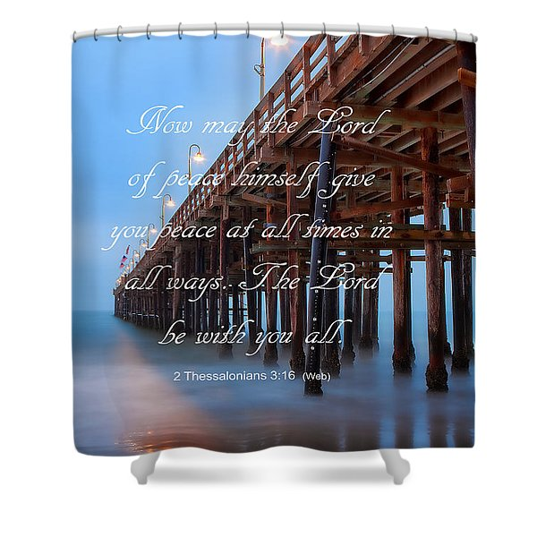 Ventura Ca Pier With Bible Verse Shower Curtain