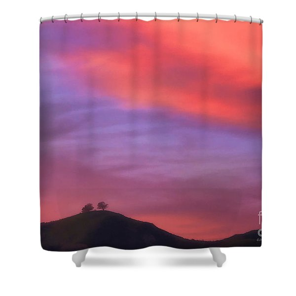 Ventura Ca Two Trees At Sunset Shower Curtain