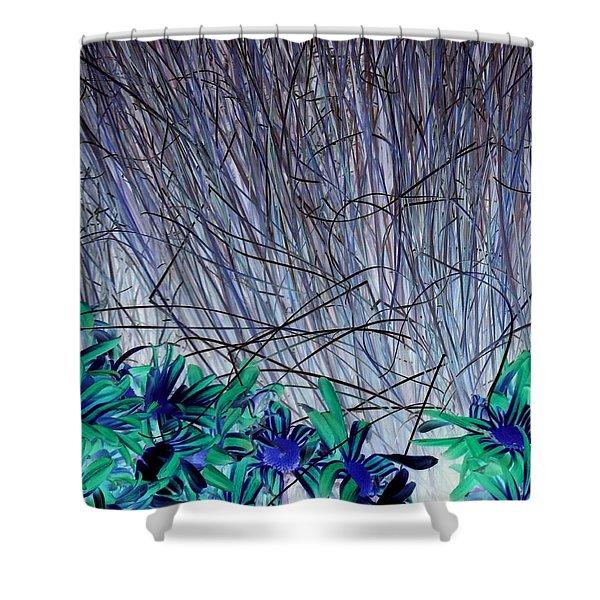 Venus Blue Botanical Shower Curtain