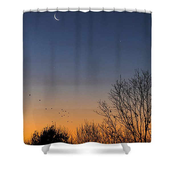 Venus, Mercury And The Moon Shower Curtain