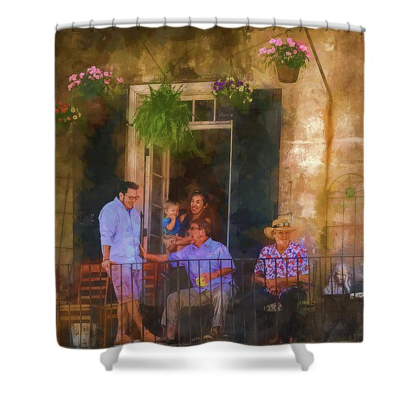 Veranda Bleue Shower Curtain