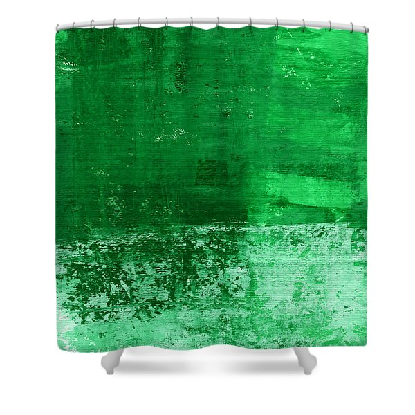 Verde-  Contemporary Abstract Art Shower Curtain