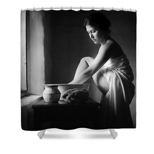 Vermeer Footwasher Shower Curtain