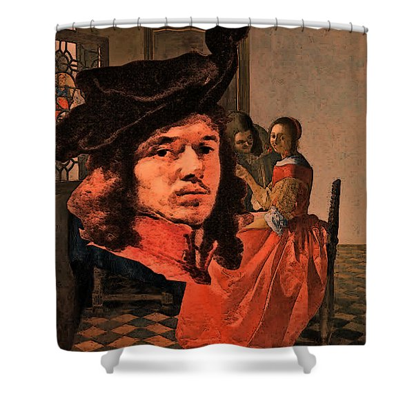 Shower Curtain featuring the digital art Vermeer Study In Orange by Tristan Armstrong