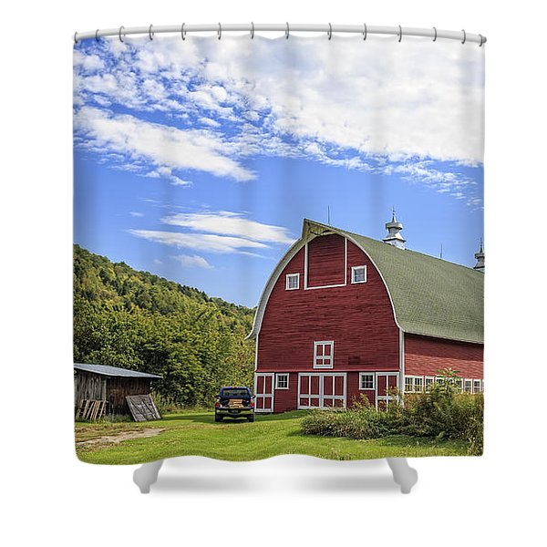 Vermont Red Barn Route 5 Shower Curtain