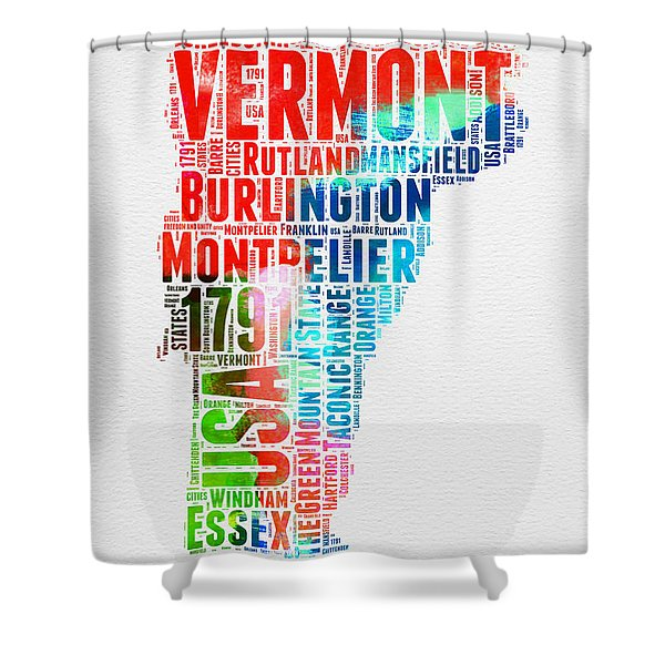 Vermont Watercolor Word Cloud  Shower Curtain