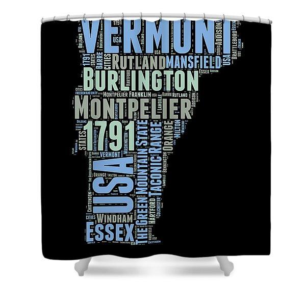 Vermont Word Cloud 1 Shower Curtain