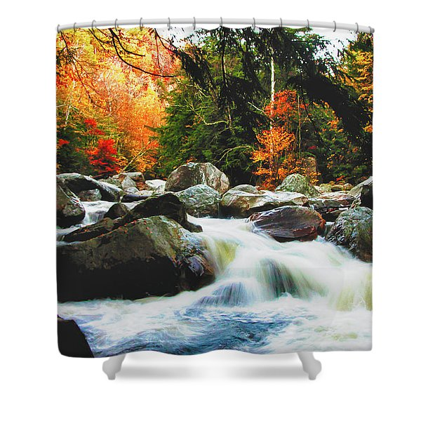Vermonts Fall Color Rapids Shower Curtain
