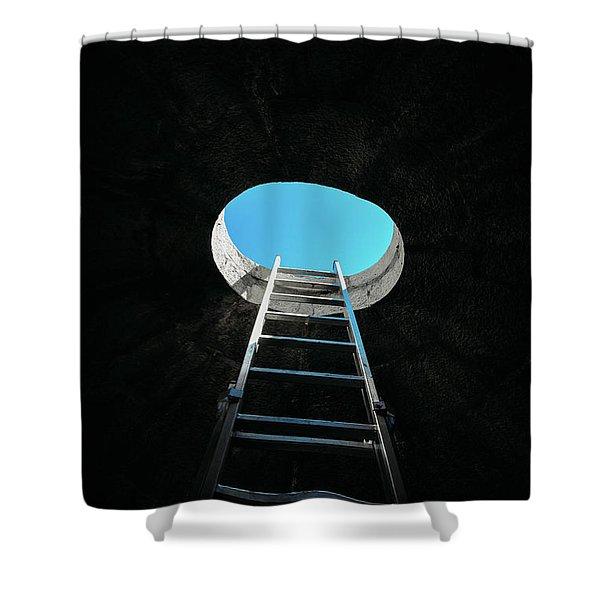 Vertical Step-ladder On Ceiling Window  Shower Curtain