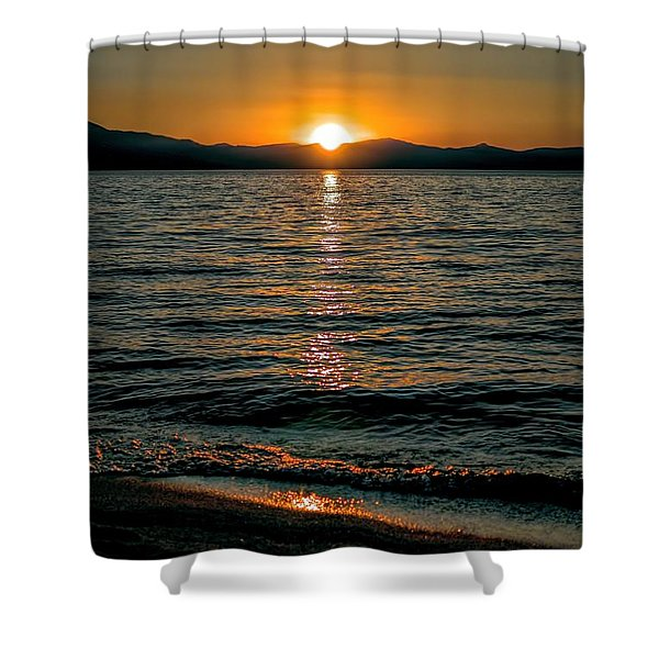 Vertical Sunset Lake Shower Curtain