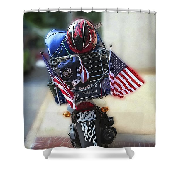 Veteran Biker Shower Curtain