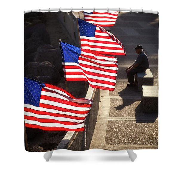 Veteran With Our Nations Flags Shower Curtain