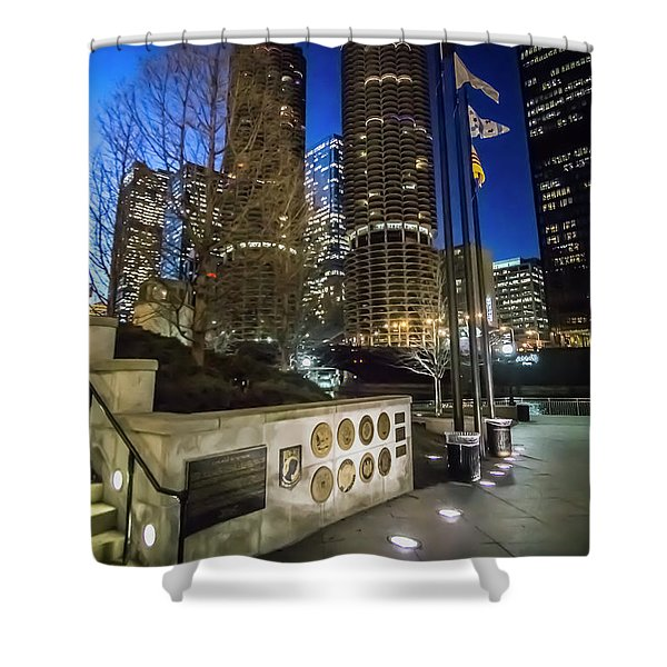 Veteran's Memorial On The Chicago Riverwalk At Dusk Shower Curtain