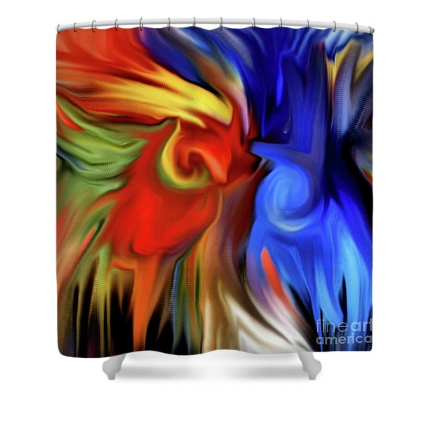 Vibrant Abstract Color Strokes Shower Curtain