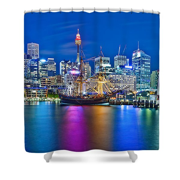 Vibrant Darling Harbour Shower Curtain