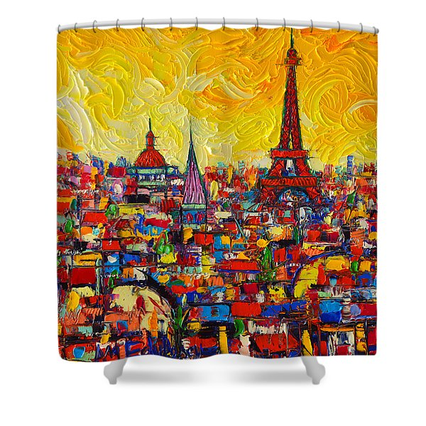 Vibrant Paris Abstract Cityscape Impasto Modern Impressionist Palette Knife Oil Ana Maria Edulescu Shower Curtain