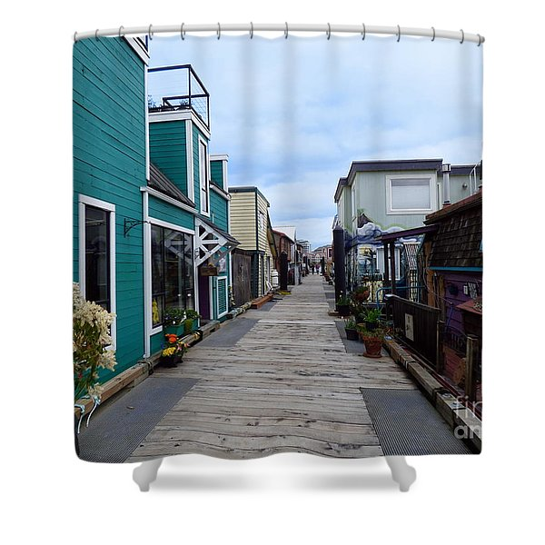 Shower Curtain featuring the photograph Victoria British Columbia Fisherman's Wharf by Charles Robinson