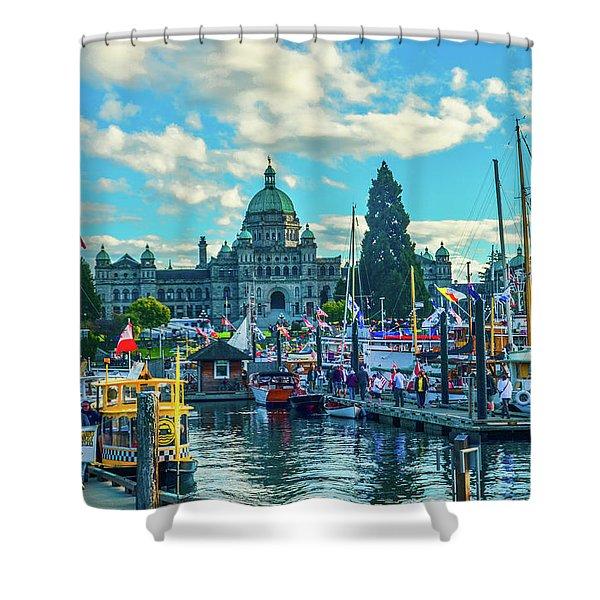 Victoria Harbor Boat Festival Shower Curtain