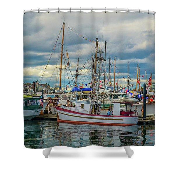 Victoria Harbor Boats Shower Curtain
