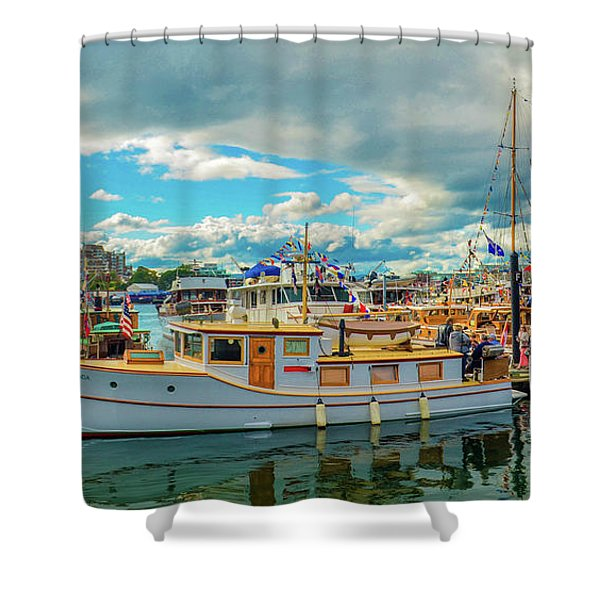Victoria Harbor Old Boats Shower Curtain