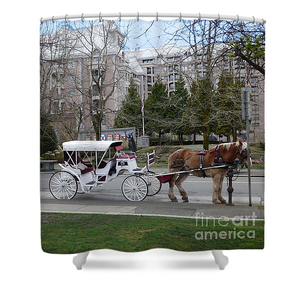 Shower Curtain featuring the photograph Victoria Horse Carriages by Charles Robinson