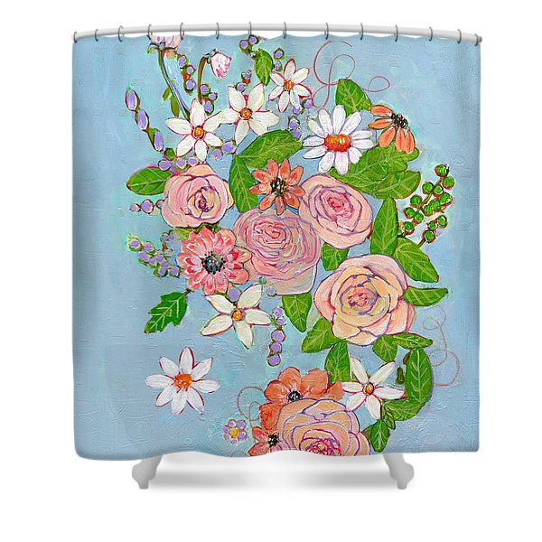 Victoria Rose Flowers Shower Curtain