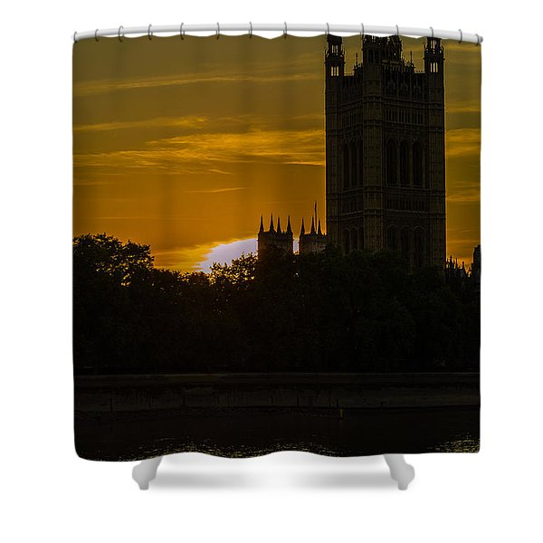 Victoria Tower In London Golden Hour Shower Curtain