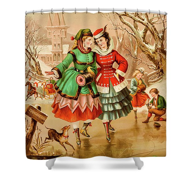 Victorian Ice Skaters Shower Curtain