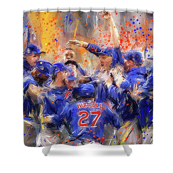 Victory At Last - Cubs 2016 World Series Champions Shower Curtain