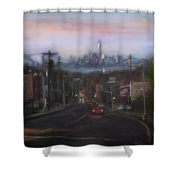 Victory Boulevard At Dusk Shower Curtain