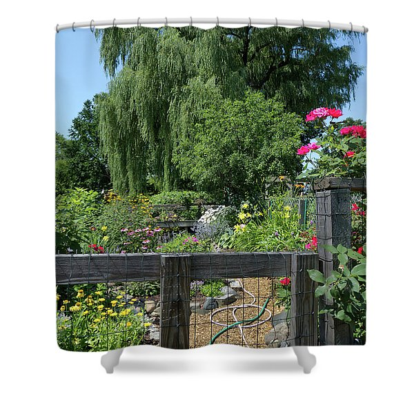 Victory Garden Lot And Willow Tree, Boston, Massachusetts  -30958 Shower Curtain