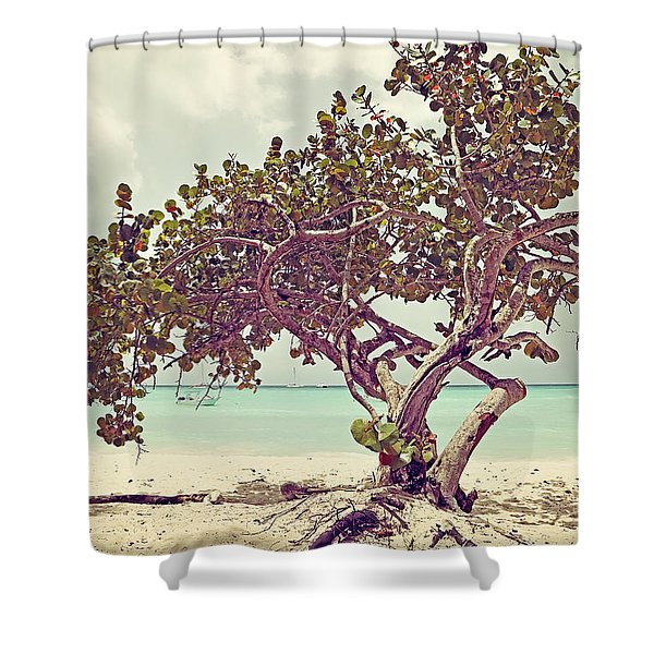View At The Ocean With Boats In The Water Shower Curtain
