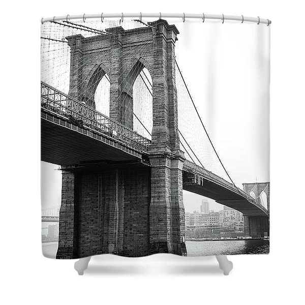 View Brooklyn Bridge With Foggy City In The Background Shower Curtain