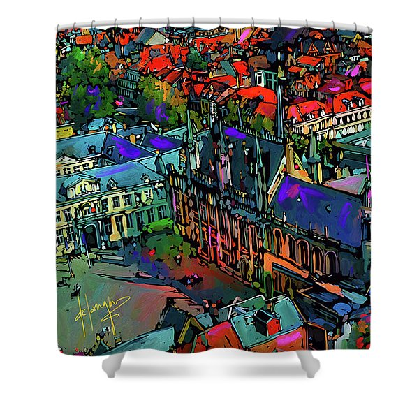 View From Clock Tower, Bruges, Blegium Shower Curtain