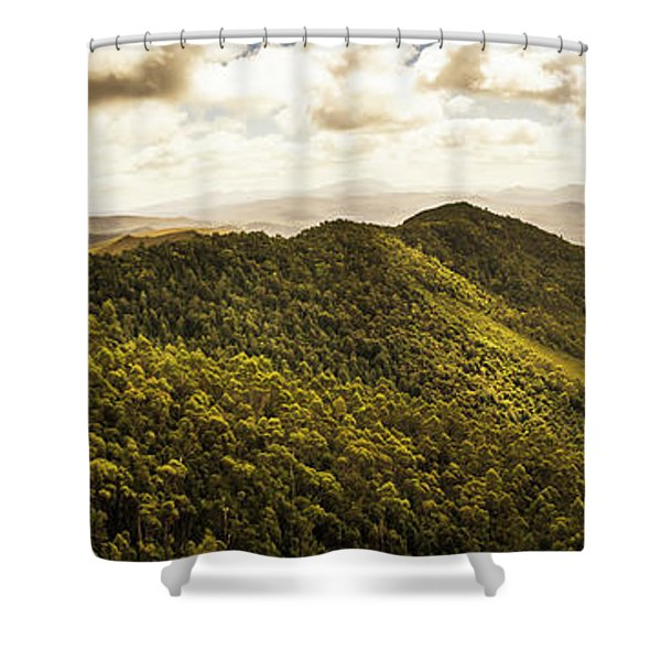 View From Halfway Up Mount Zeehan Shower Curtain